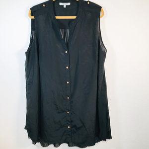 Daniel Rainn Sheer Black Blouse Size 3X Button up